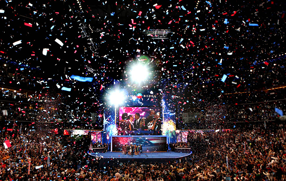 CHARLOTTE, NC- SEPTEMBER 6 2012: Confetti flies after President Obama spoke at the Democratic National Convention 2012 at Time Warner Cable Arena September 6 2012 in Charlotte. (Brian van der Brug/Los Angeles Times)