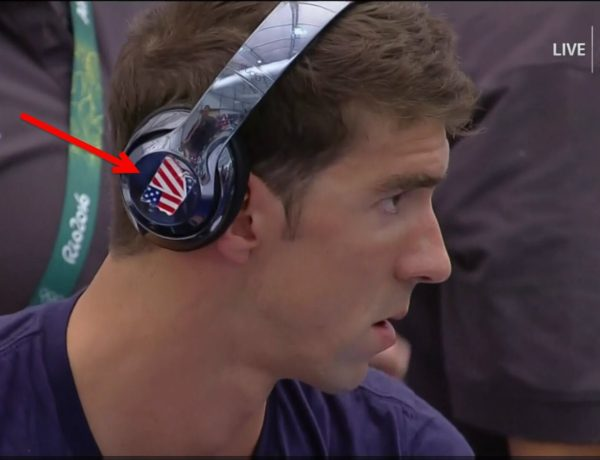Michael Phelps Covers Beats Logo During Rio 2016 Games